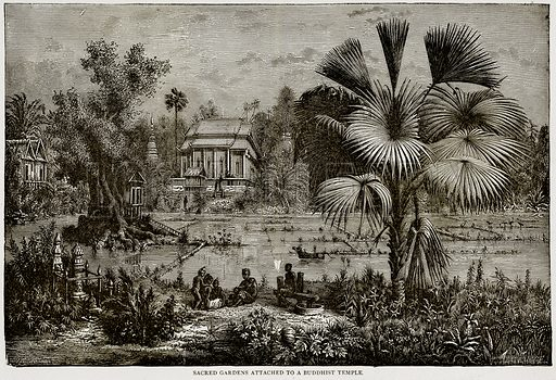 Sacred Gardens attached to a Buddhist Temple. Illustration from Error