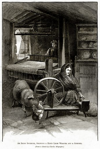 An Irish interior, showing a Hand Loom Weaver and a Spinner. Illustration from Irish Pictures by Richard Lovett (Religious Tract Society, 1888).