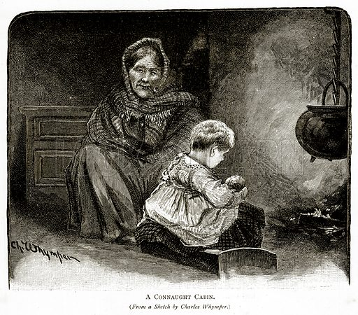 A Connaught Cabin. Illustration from Irish Pictures by Richard Lovett (Religious Tract Society, 1888).