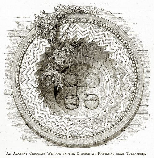 An Ancient Circular Window in the Church at Rathain, near Tullamore. Illustration from Irish Pictures by Richard Lovett (Religious Tract Society, 1888).