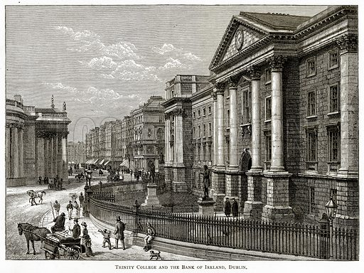 Trinity College and The Bank of Ireland, Dublin. Illustration from Irish Pictures by Richard Lovett (Religious Tract Society, 1888).