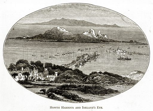 Howth Harbour and Ireland's Eye. Illustration from Irish Pictures by Richard Lovett (Religious Tract Society, 1888).