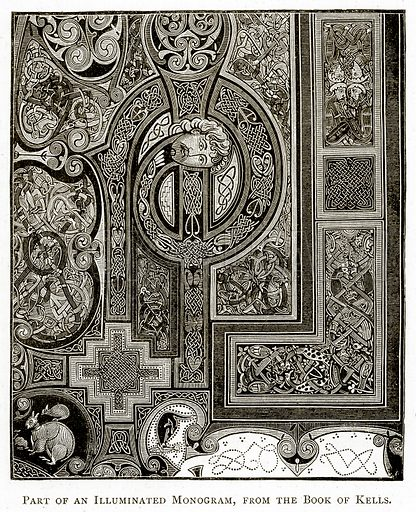 Part of an Illuminated Monogram, from the Book of Kelis. Illustration from Irish Pictures by Richard Lovett (Religious Tract Society, 1888).