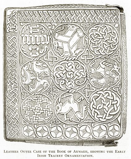 Leather Outer Case of the Book of Armagh, showing the Early Irish Tracery Ornamentation. Illustration from Irish Pictures by Richard Lovett (Religious Tract Society, 1888).