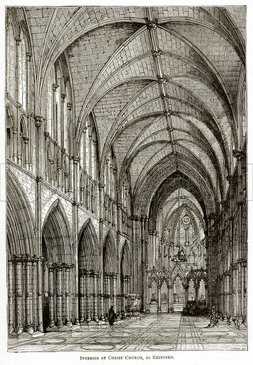 Interior of Christ Church, as Restored. Illustration from Irish Pictures by Richard Lovett (Religious Tract Society, 1888).