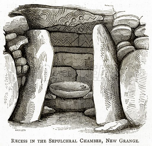 Recess in the Sepulchral Chamber, New Grange. Illustration from Irish Pictures by Richard Lovett (Religious Tract Society, 1888).
