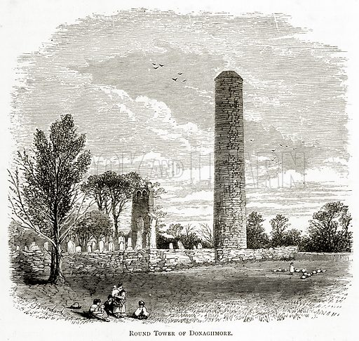 Round Tower of Donaghmore. Illustration from Irish Pictures by Richard Lovett (Religious Tract Society, 1888).