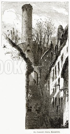 St Canice's Steps, Kilkenny. Illustration from Irish Pictures by Richard Lovett (Religious Tract Society, 1888).