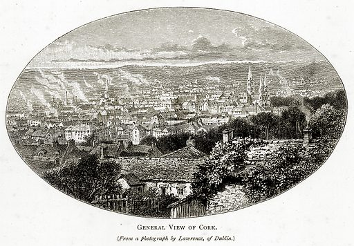 General view of Cork. Illustration from Irish Pictures by Richard Lovett (Religious Tract Society, 1888).