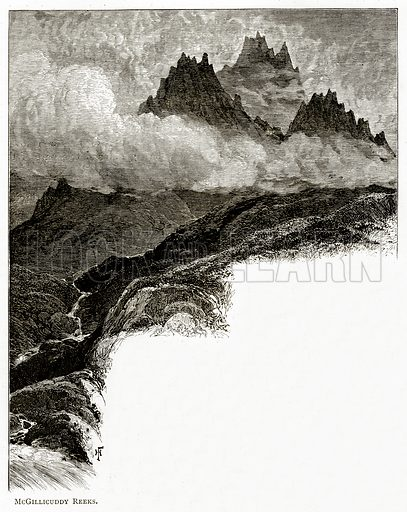 McGillicuddy Reeks. Illustration from Irish Pictures by Richard Lovett (Religious Tract Society, 1888).