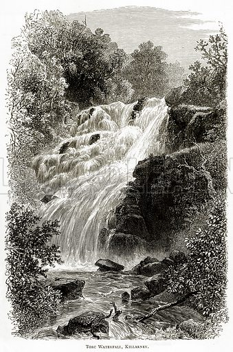 Torc Waterfall, Killarney. Illustration from Irish Pictures by Richard Lovett (Religious Tract Society, 1888).