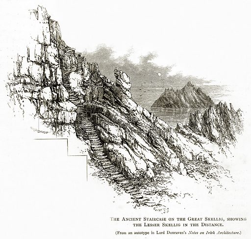 The Ancient Staircase on the Great Skellig, showing the Lesser Skellig in the Distance. Illustration from Irish Pictures by Richard Lovett (Religious Tract Society, 1888).