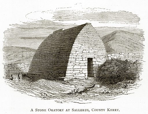 A Stone Oratory at Sallerus, County Kerry. Illustration from Irish Pictures by Richard Lovett (Religious Tract Society, 1888).