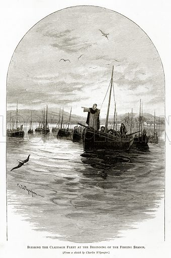 Blessing the Claddagh Fleet at the beginning of the Fishing Season. Illustration from Irish Pictures by Richard Lovett (Religious Tract Society, 1888).