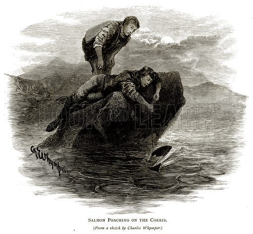 Salmon Poaching on the Corrib. Illustration from Irish Pictures by Richard Lovett (Religious Tract Society, 1888).