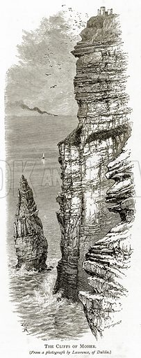 The Cliffs of Moher. Illustration from Irish Pictures by Richard Lovett (Religious Tract Society, 1888).