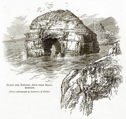 Cliffs and Natural Arch near Ballybunnion. Illustration from Irish Pictures by Richard Lovett (Religious Tract Society, 1888).
