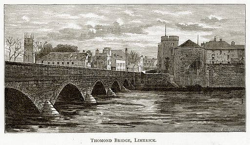 Thomond Bridge, Limerick. Illustration from Irish Pictures by Richard Lovett (Religious Tract Society, 1888).