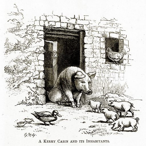 A Kerry Cabin and its inhabitants. Illustration from Irish Pictures by Richard Lovett (Religious Tract Society, 1888).