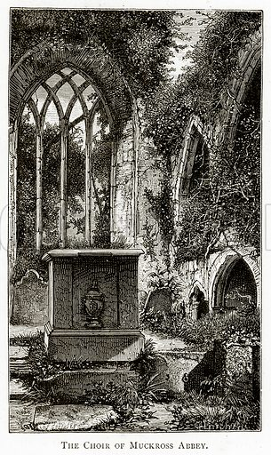 The Choir of Muckross Abbey. Illustration from Irish Pictures by Richard Lovett (Religious Tract Society, 1888).