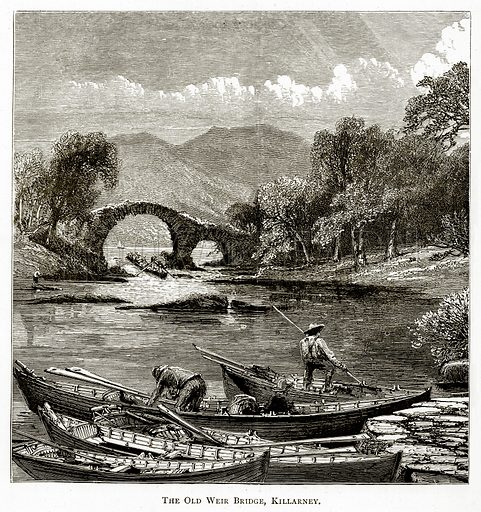 The Old Weir Bridge, Killarney. Illustration from Irish Pictures by Richard Lovett (Religious Tract Society, 1888).
