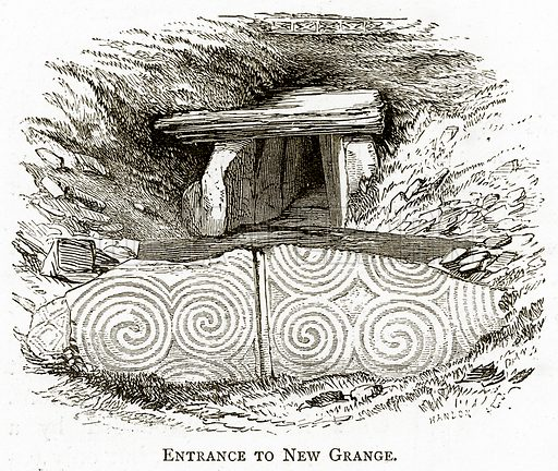 Entrance to New Grange. Illustration from Irish Pictures by Richard Lovett (Religious Tract Society, 1888).