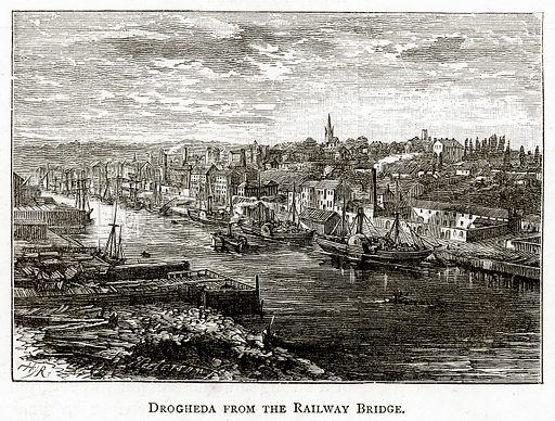 Drogheda from the Railway Bridge. Illustration from Irish Pictures by Richard Lovett (Religious Tract Society, 1888).
