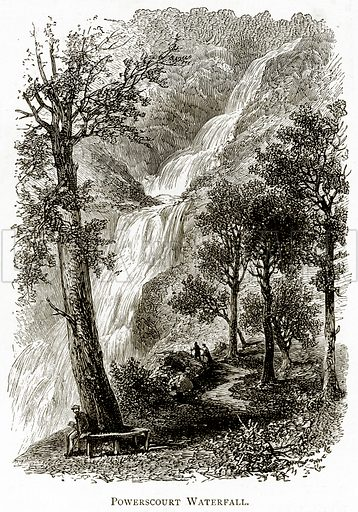 Powerscourt Waterfall. Illustration from Irish Pictures by Richard Lovett (Religious Tract Society, 1888).