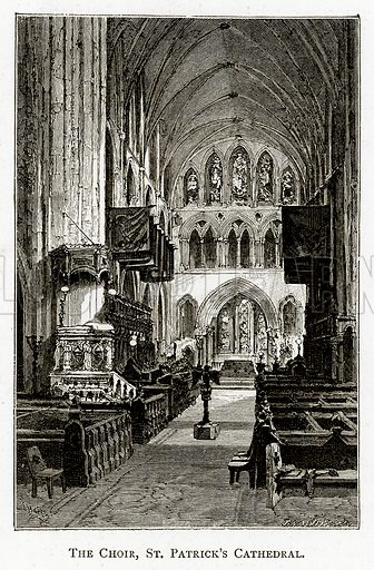 The Choir, St Patrick's Cathedral. Illustration from Irish Pictures by Richard Lovett (Religious Tract Society, 1888).