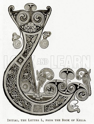 Initial, the letter L, from the Book of Kells. Illustration from Irish Pictures by Richard Lovett (Religious Tract Society, 1888).