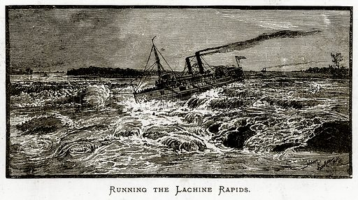 Running the Lachine Rapids. Illustration from Irish Pictures by Richard Lovett (Religious Tract Society, 1888).