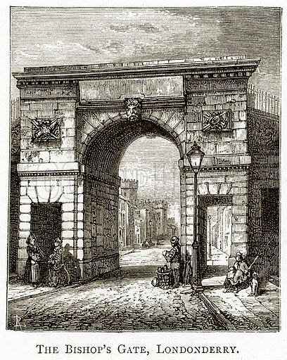 The Bishop's Gate, Londonderry. Illustration from Irish Pictures by Richard Lovett (Religious Tract Society, 1888).