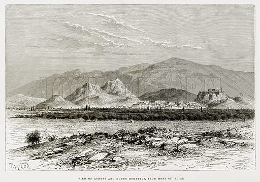 View of Athens and Mount Hymettus, from Mont St Elias. Illustration from The Mediterranean Illustrated (T Nelson, 1880).