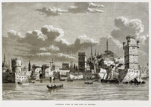 General view of the City of Rhodes. Illustration from The Mediterranean Illustrated (T Nelson, 1880).
