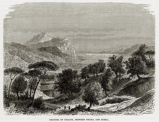 Channel of Chalcis, between Boeotia and Euboea. Illustration from The Mediterranean Illustrated (T Nelson, 1880).