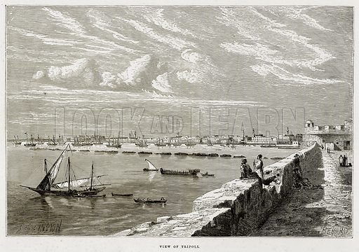 View of Tripoli. Illustration from The Mediterranean Illustrated (T Nelson, 1880).