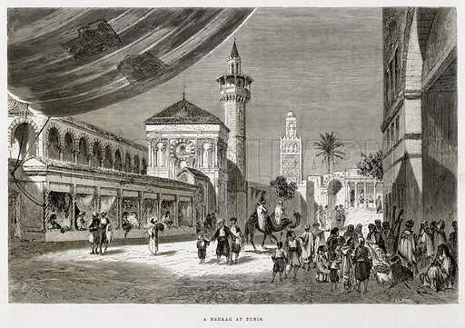 A Bazaar at Tunis. Illustration from The Mediterranean Illustrated (T Nelson, 1880).