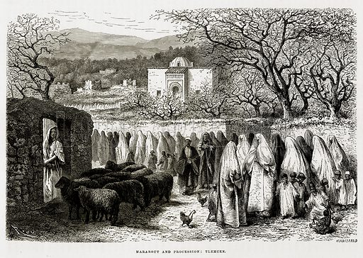 Marabout and Procession: Tlemcen. Illustration from The Mediterranean Illustrated (T Nelson, 1880).