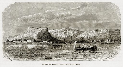 Island of Cerigo: The Ancient Cythera. Illustration from The Mediterranean Illustrated (T Nelson, 1880).