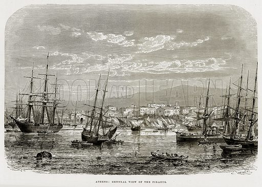 Athens: General view of the Piraeus. Illustration from The Mediterranean Illustrated (T Nelson, 1880).