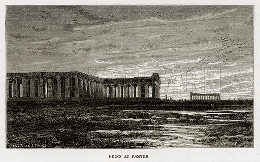 Ruins at Paestum. Illustration from The Mediterranean Illustrated (T Nelson, 1880).