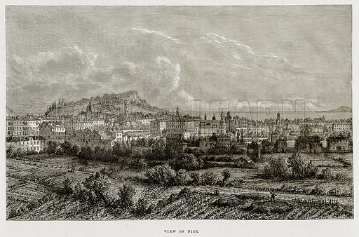 View of Nice. Illustration from The Mediterranean Illustrated (T Nelson, 1880).