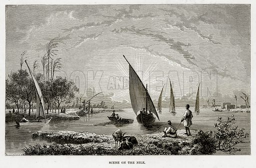 Scene on the Nile. Illustration from The Mediterranean Illustrated (T Nelson, 1880).