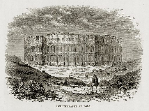 Amphitheatre at Pola. Illustration from The Mediterranean Illustrated (T Nelson, 1880).