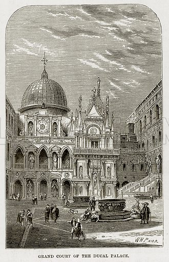 Grand Court of the Ducal Palace. Illustration from The Mediterranean Illustrated (T Nelson, 1880).