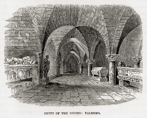 Crypt of the Duomo: Palermo. Illustration from The Mediterranean Illustrated (T Nelson, 1880).
