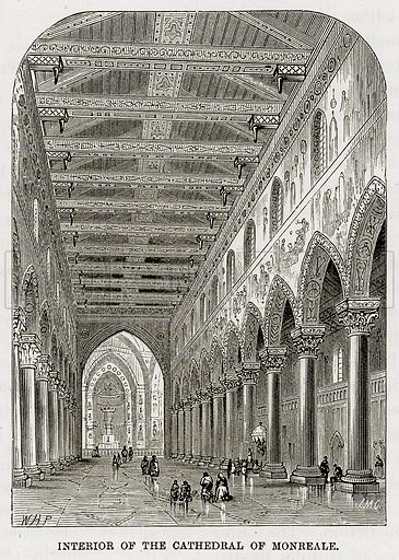 Interior of the Cathedral of Monreale. Illustration from The Mediterranean Illustrated (T Nelson, 1880).