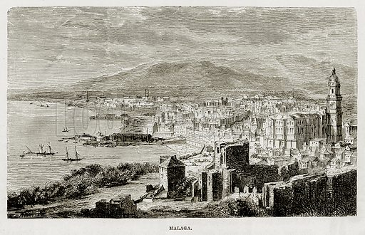 Malaga. Illustration from The Mediterranean Illustrated (T Nelson, 1880).