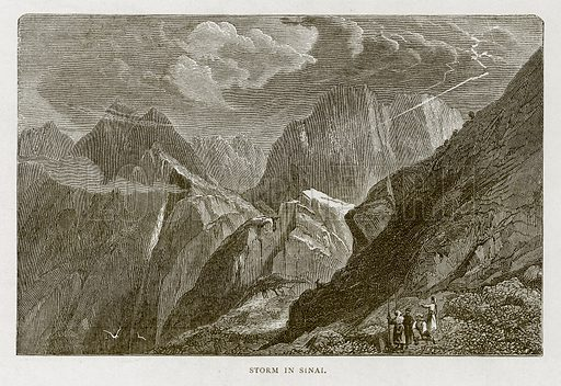 Storm in Sinai. Illustration from Land of the Pharaohs by Samuel Manning (Religious Tract Society, c 1880).