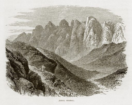 Jebel Serbal. Illustration from Land of the Pharaohs by Samuel Manning (Religious Tract Society, c 1880).